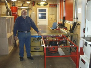 Tom M with his Ezee-Feed on a  Powermatic Table Saw